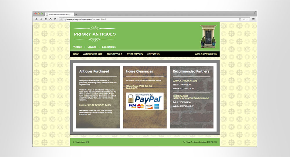 Priory Antiques Website 03